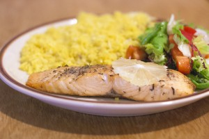 Salmon with Curry Rice and Vegetables